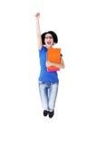 Springendes Studentenmädchen Stockfotos
