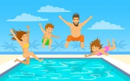 Springendes Tauchen der Familie in Pool lizenzfreie abbildung