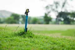 Springer water garden green grass meadow with field golf court. Background royalty free stock photography