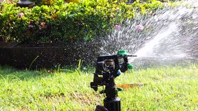 Springer water system used for watering plant in the garden, full hd 1080p slow motion. Springer water system used for watering plant and flower in the garden stock footage