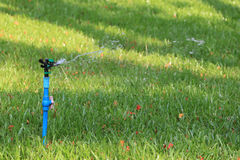 Springer is working and have water spread for green lawn. Stock Photo