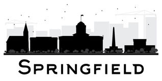 Springfield City skyline black and white silhouette. Royalty Free Stock Photo