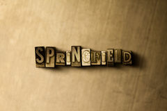 SPRINGFIELD - close-up of grungy vintage typeset word on metal backdrop Stock Image