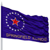 Springfield Flag on Flagpole, Waving on White Background. Springfield Flag on Flagpole, Capital of Illinois State, Flying in the Wind, Isolated on White Stock Images