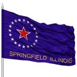 Springfield Flag on Flagpole, Waving on White Background Stock Images