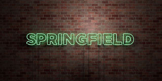 SPRINGFIELD - fluorescent Neon tube Sign on brickwork - Front view - 3D rendered royalty free stock picture Stock Photography