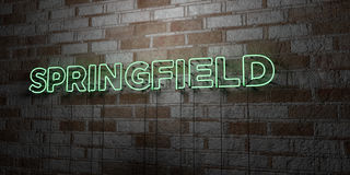 SPRINGFIELD - Glowing Neon Sign on stonework wall - 3D rendered royalty free stock illustration Royalty Free Stock Photography
