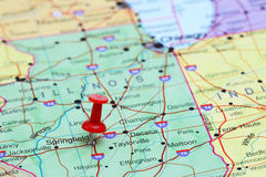 Springfield ha appuntato su una mappa di U.S.A. Immagini Stock Libere da Diritti