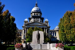 Springfield, Illinois:  State Capitol Building. Springfield, Illinois:  A statue of President Abraham Lincoln stands in front of the 1868 Illinois State House Stock Photos