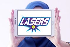 Springfield Lasers tennis team logo. Logo of Springfield Lasers tennis team on samsung tablet holded by arab muslim woman. The Springfield Lasers are a World Royalty Free Stock Images
