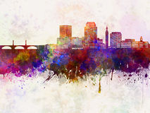 Springfield MA skyline in watercolor Royalty Free Stock Photography