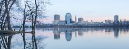 Springfield massachusetts city skyline early mornin Royalty Free Stock Photos