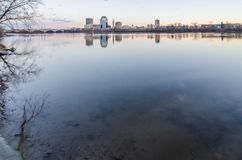 Springfield massachusetts city skyline early mornin Royalty Free Stock Image