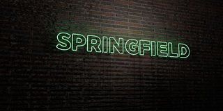 SPRINGFIELD -Realistic Neon Sign on Brick Wall background - 3D rendered royalty free stock image Stock Image