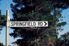 Springfield Road in Australia Outback stock image