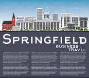 Springfield Skyline with Gray Buildings, Blue Sky and Copy Space Royalty Free Stock Image