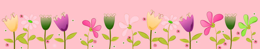 Springflower illustration banner to children Royalty Free Stock Photo