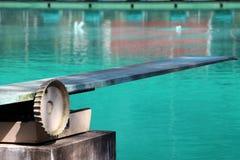 Springplank bij het zwembad stock foto's