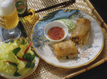 Springroll. On a plate with duck sauce Stock Image