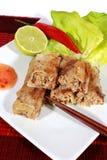 Springrolls friáveis no prato com salada Fotografia de Stock