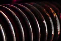 Springs. Old painted and weathered train springs Stock Image
