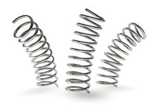 Springs. 3d rendering of a three metal springs  on white background Royalty Free Stock Photos