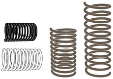 Springs. Vector images shows metal springs in right 3D perspective view Stock Image