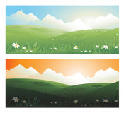 2 springs banners landscape day and sunscape with sun clouds Royalty Free Stock Photo