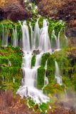 Springs with lush green grasses flow from the side of a cliff in. Thousand Springs in Idaho shows water flowing from the side of a cliff forming green grasses Royalty Free Stock Images