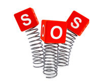 Springs with SOS cubes Stock Images