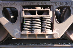 Springs on train car Royalty Free Stock Image