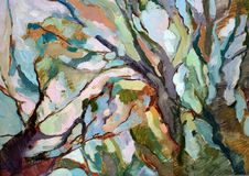 Ζωγραφική των εκφράσεων χρώματος στα δέντρα στο springt Στοκ Φωτογραφία
