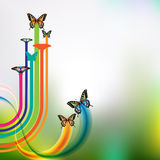 Springtime. Background with butterflies and jets Royalty Free Stock Photo