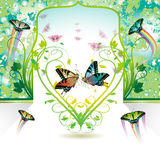 Springtime. Love heart with butterflies Stock Photography