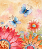Springtime. Watercolor illustration of flowers and butterflies Stock Photo