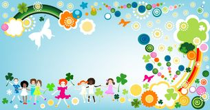 Springtime. Kids enjoying springtime; abstract design Royalty Free Stock Photos