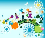 Springtime. Kids enjoying nature; abstract design with children and rainbow Royalty Free Stock Image