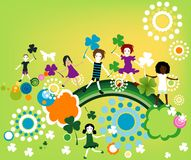 Springtime. Kids playing and enjoying springtime Royalty Free Stock Photo