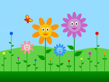 Springtime. Background with funny flowers. Eps file available Stock Photo