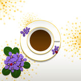 Springtime African Violet and Cup of Coffee. Springtime African Violet with Cup of Coffee Background Stock Photo
