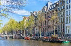 Springtime in Amsterdam. Canals grachts royalty free stock photos