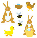 Springtime Animals. A group of cartoon animals commonly associated with the spring season Royalty Free Stock Image