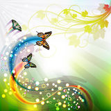 Springtime background. With butterflies and jets Stock Images