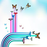 Springtime background. With butterflies adn stripes Royalty Free Stock Images