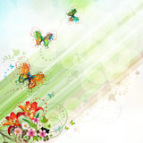 Springtime background. With flowers and butterflies Royalty Free Stock Photo