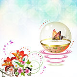Springtime background. With butterflies and flowers Stock Image