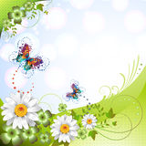 Springtime background. With flowers and butterflies Royalty Free Stock Image