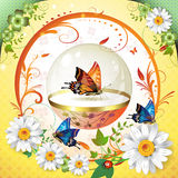 Springtime background. With butterflies and flowers Royalty Free Stock Image