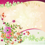 Springtime background. With flowers and butterfly Stock Photo