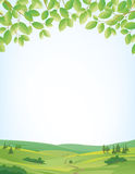 Springtime background with landscape and leaves border. Background for springtime, border of leaves at top, idyllic landscape at bottom, large copy space Royalty Free Stock Image